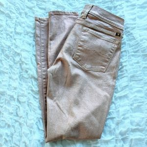 Guess Metallic Rose Gold Charlie Skinny Jeans 27